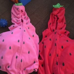 Twin girl strawberry costumes 6-9 months